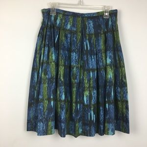 Talbots Blue Green Watercolor A Line Full Skirt. 8